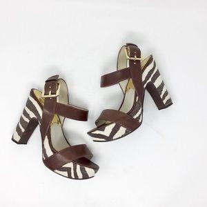 Michael Michael Kors Brown zebra print heels